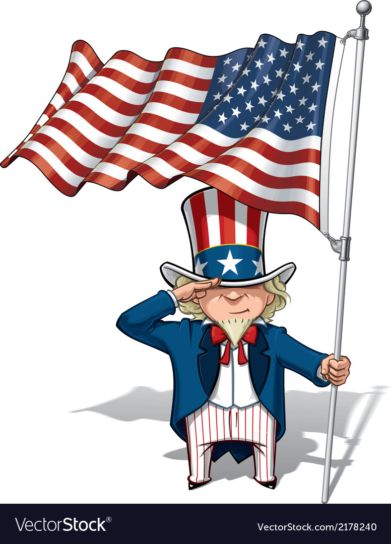 Uncle sam saluting the us flag vector