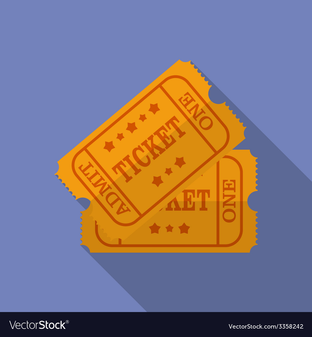 Icon of ticket flat style vector