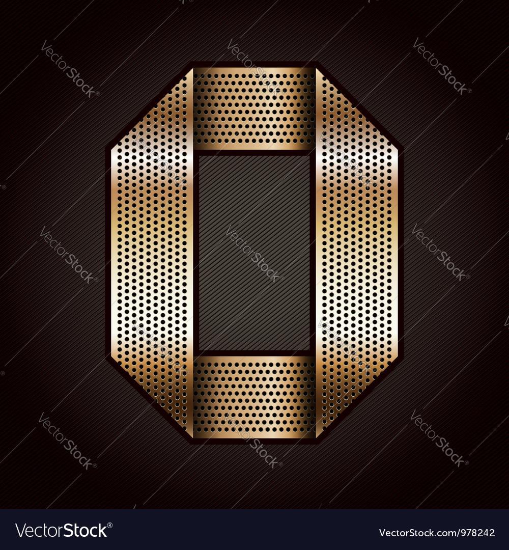 Letter metal gold ribbon - o vector