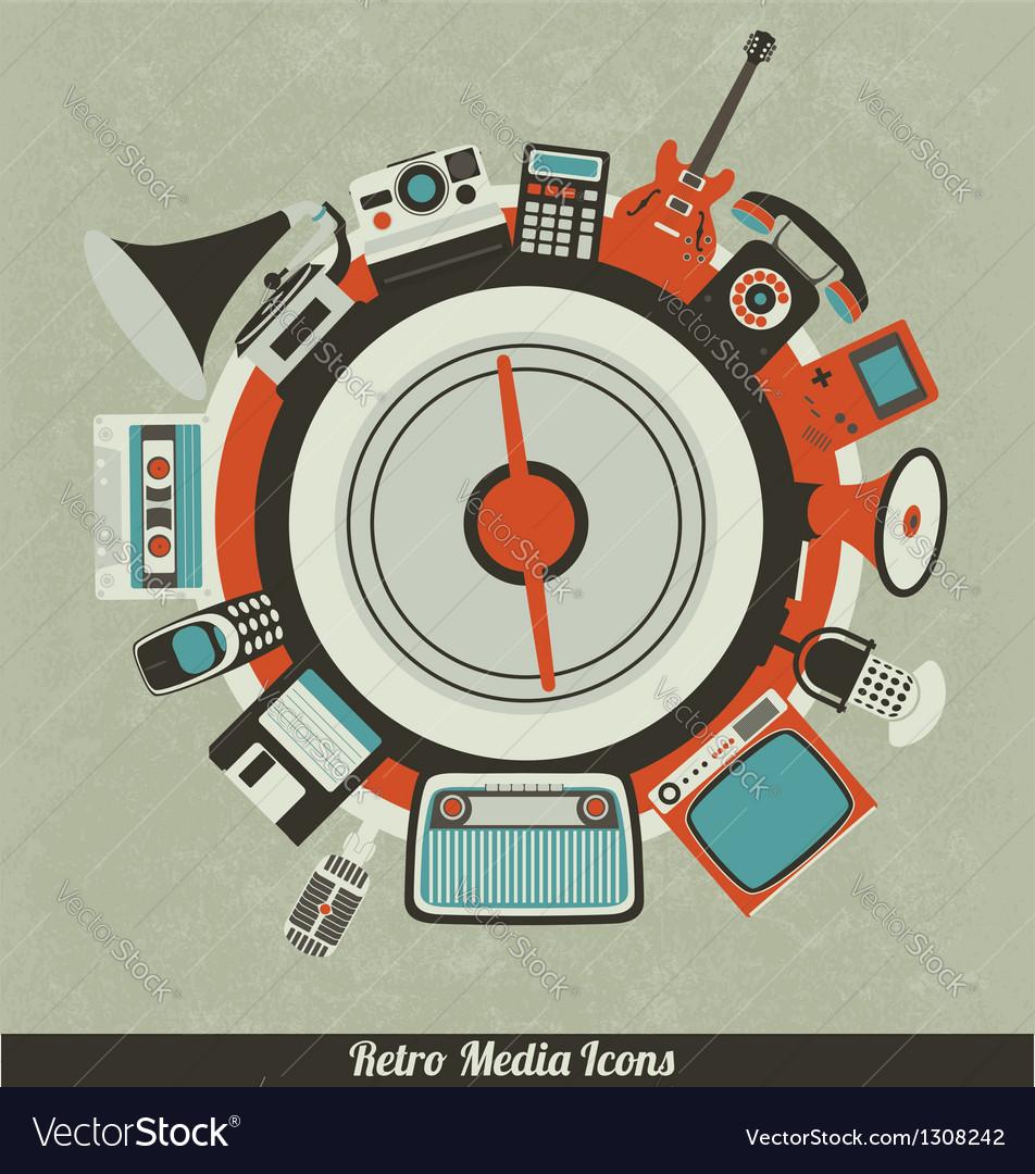 Retro media icons vector