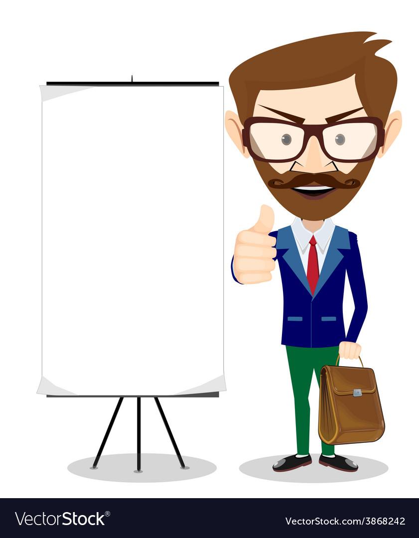 Teacher with blank poster vector