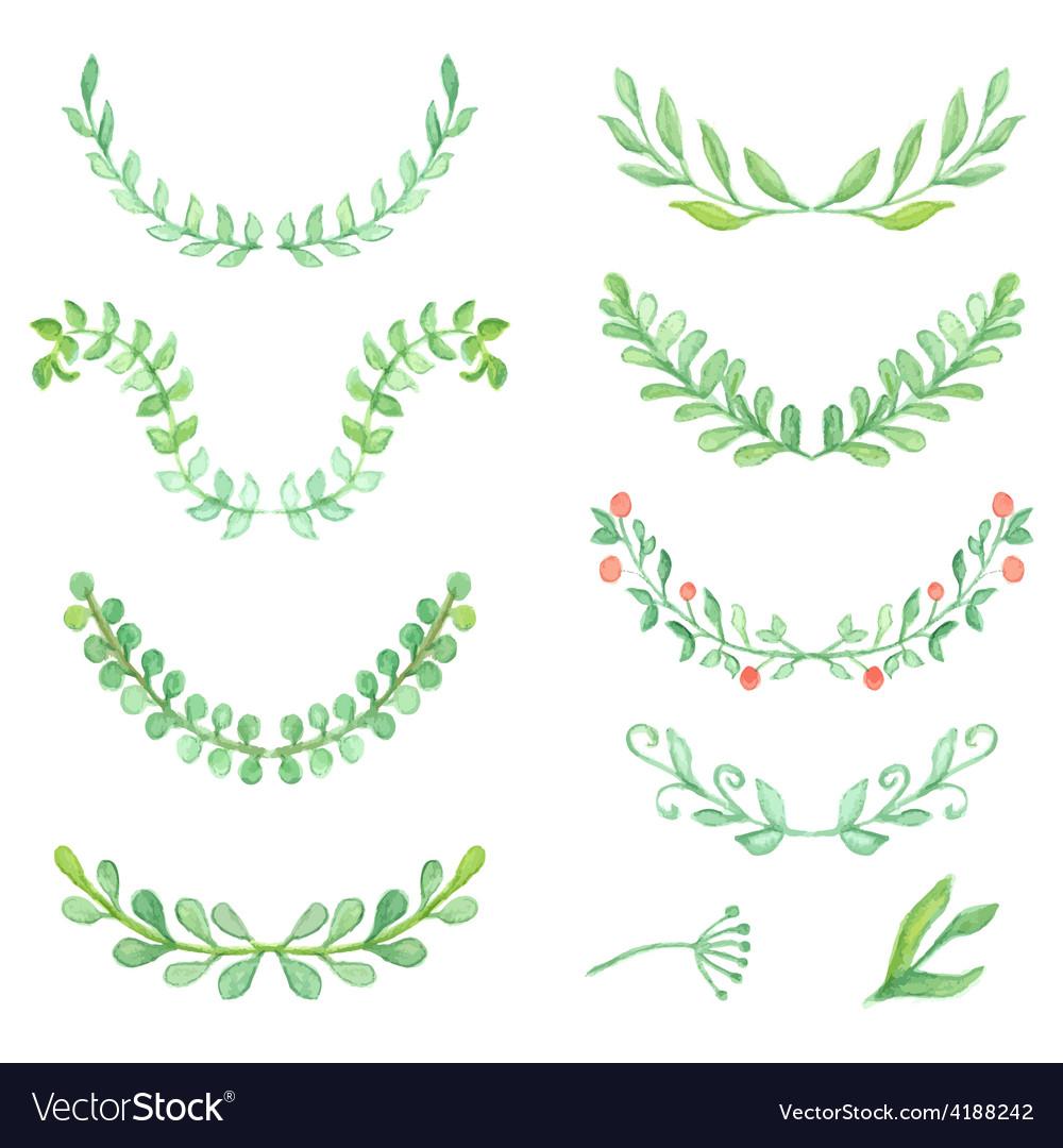 Watercolor painted laurels set floral wreaths and vector