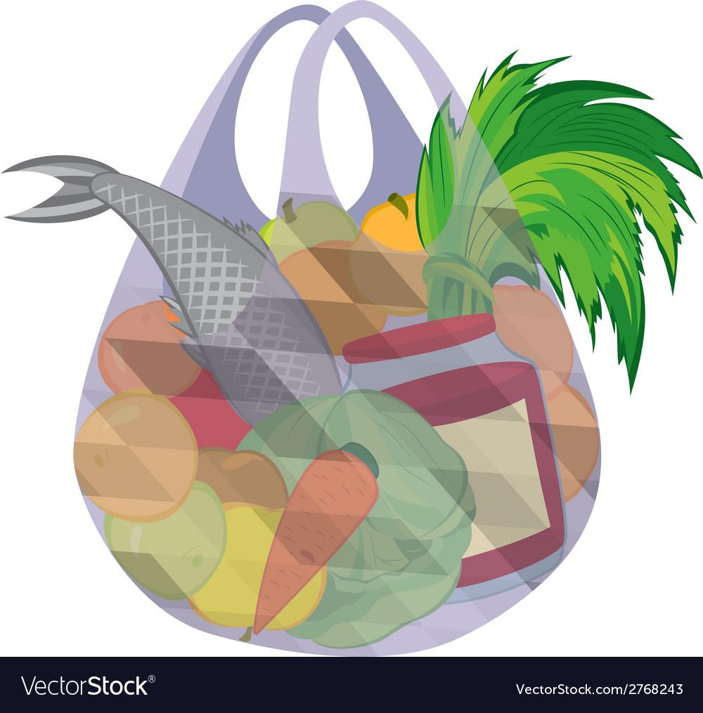Plastic transparent shopping bag full of fruits vector