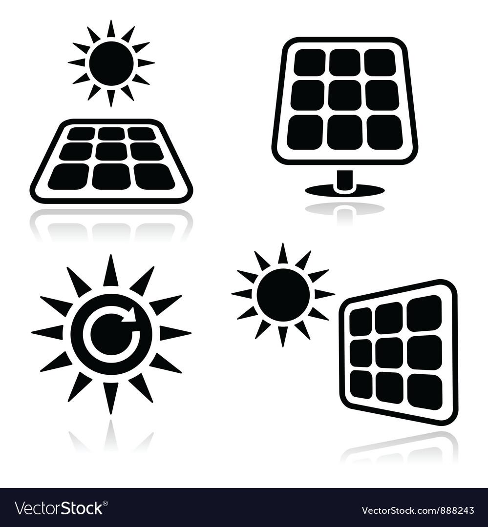 Solar panels icons vector