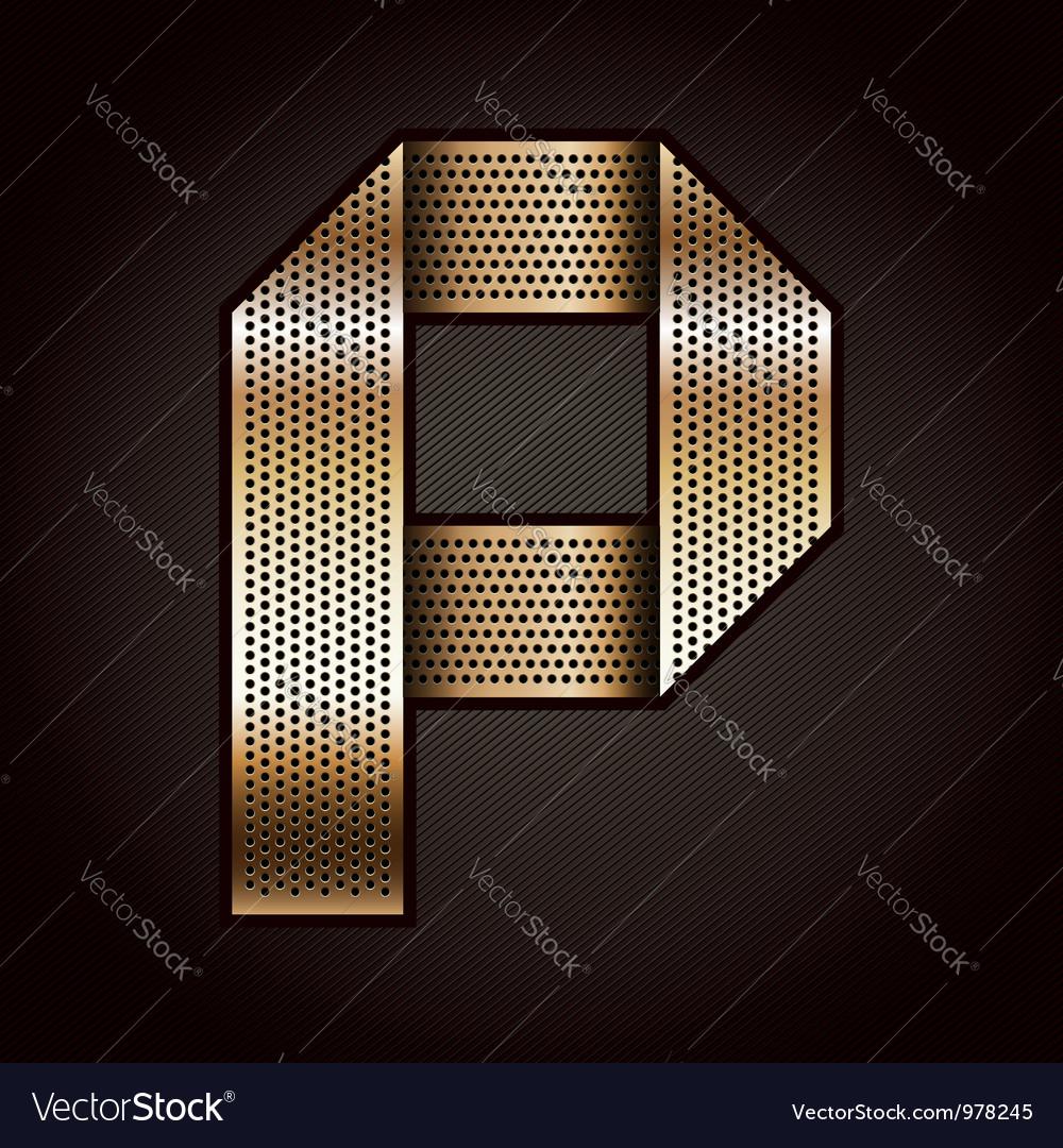 Letter metal gold ribbon - p vector