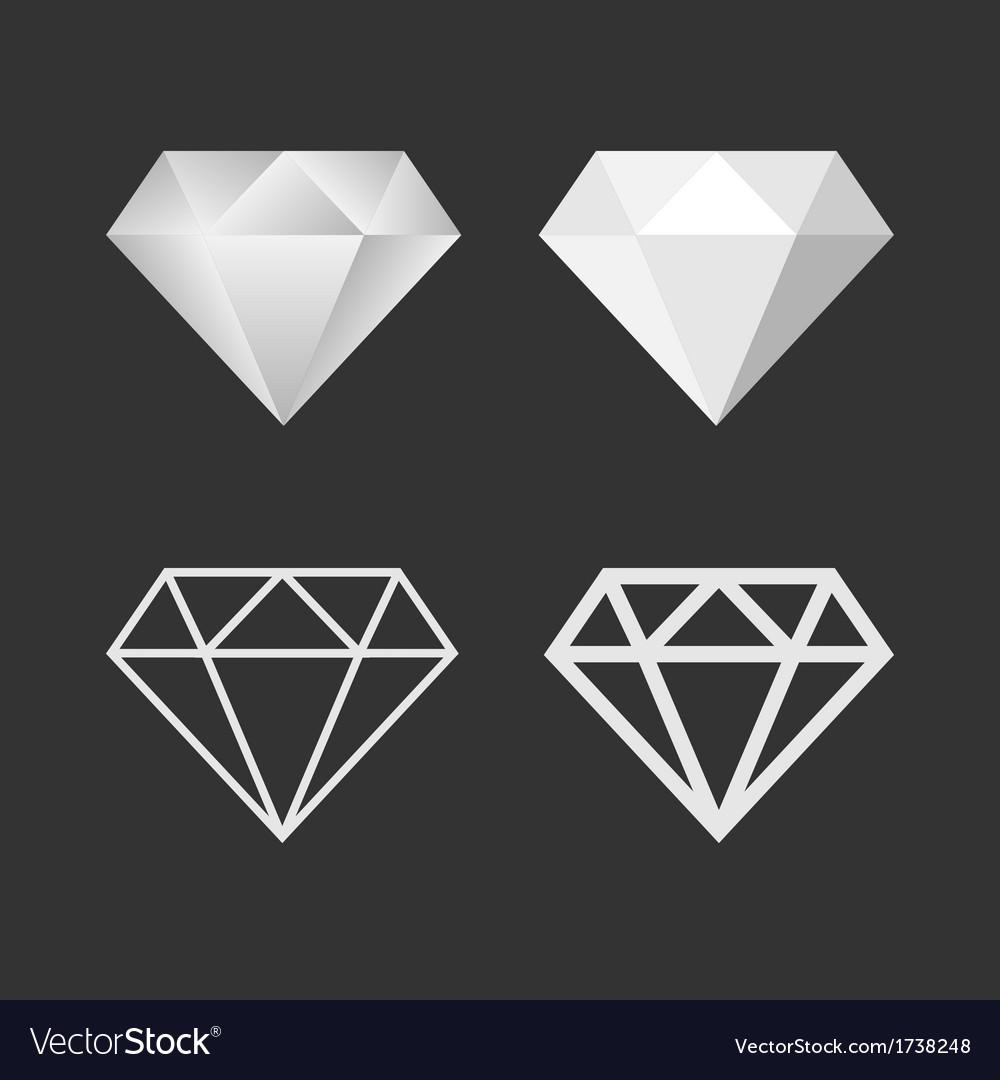 Diamond icon and emblem set vector