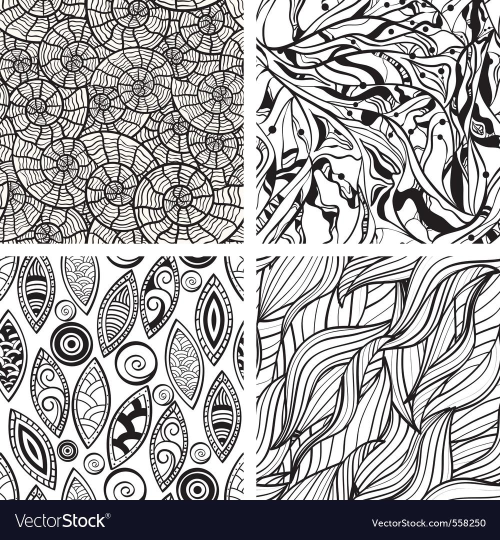 Seamless hand drawn patterns vector