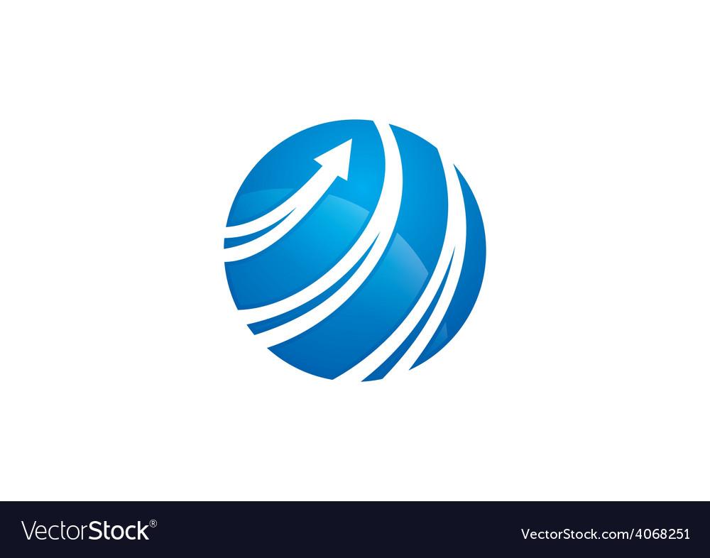 Globe arrow swirl communication logo vector