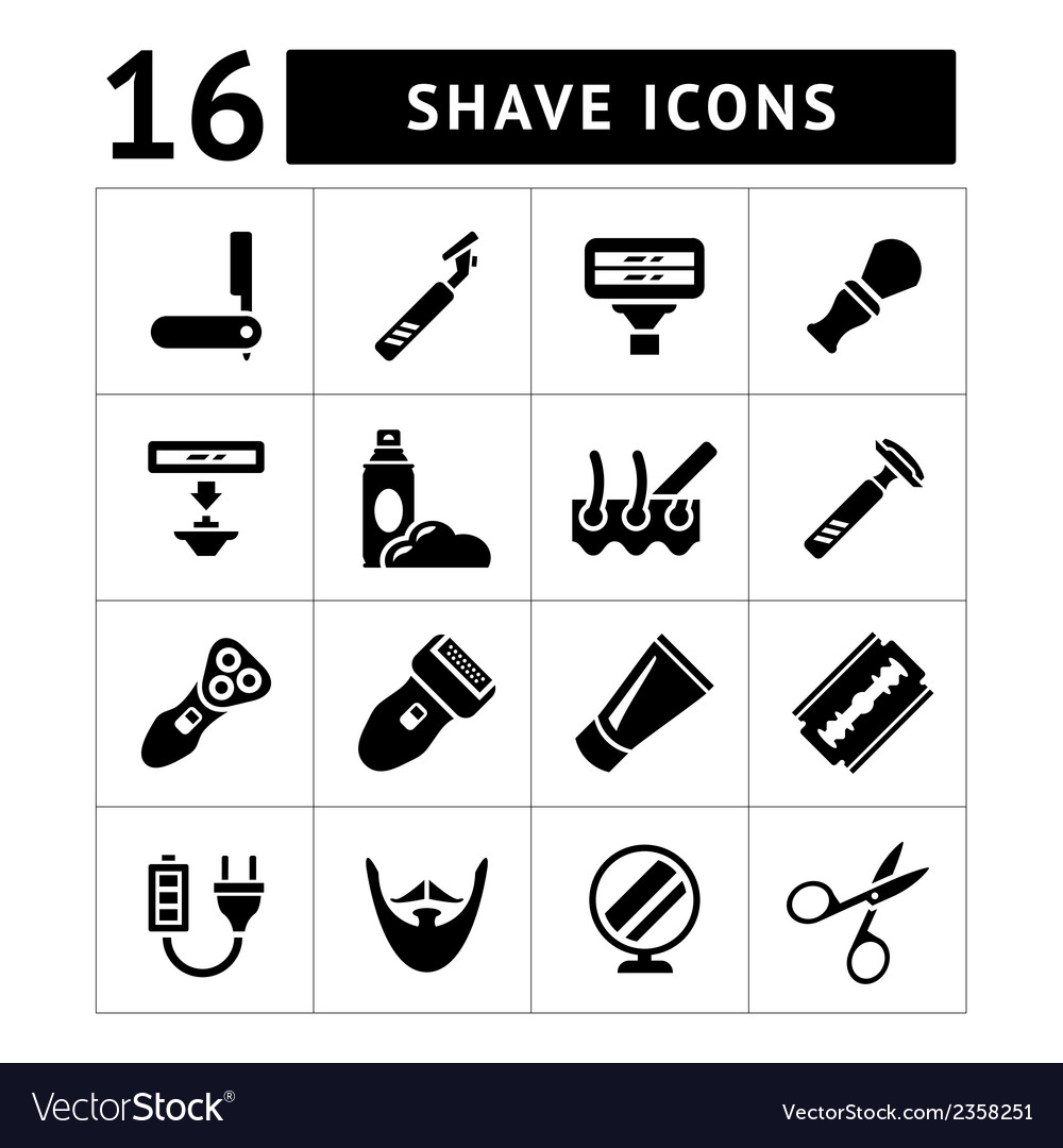 Set icons of shave and barber equipment vector