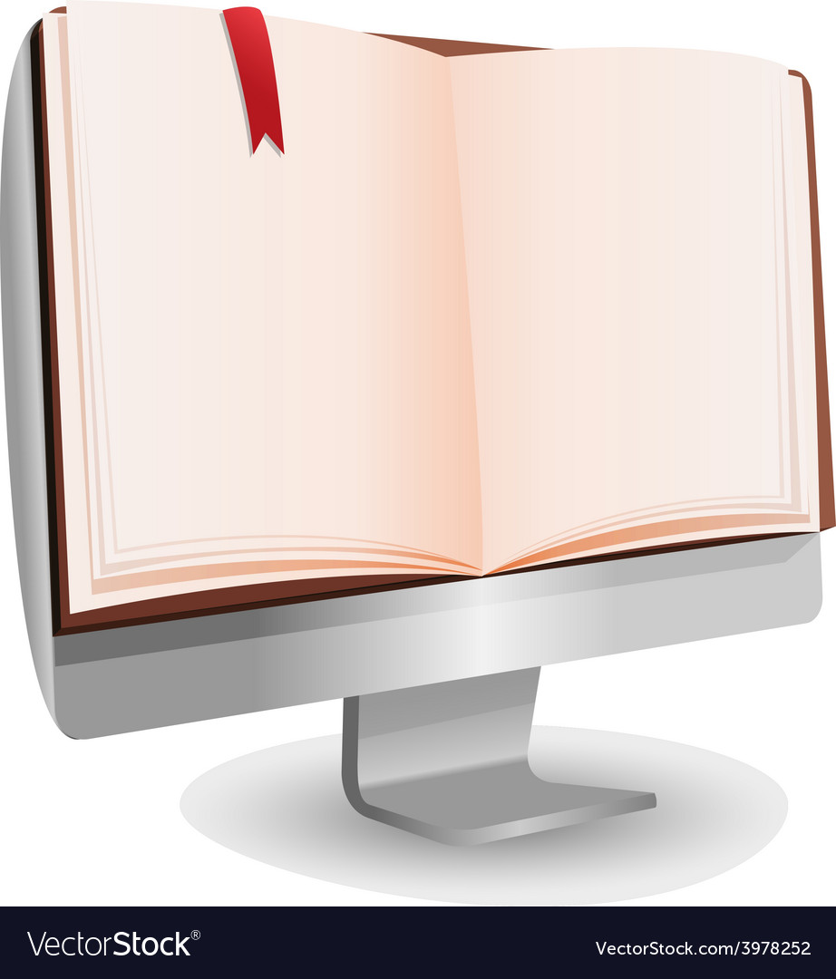 Computer book reading technology education vector