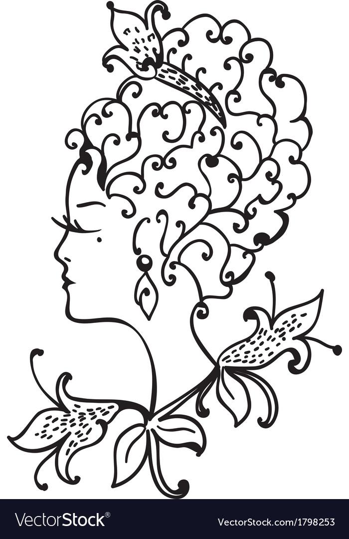 Woman vintage profile vector