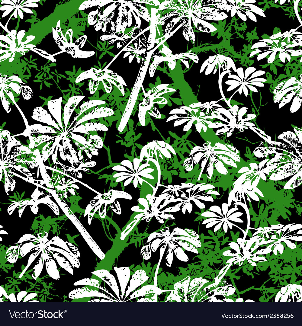 Pattern with tropical trees and leaves vector