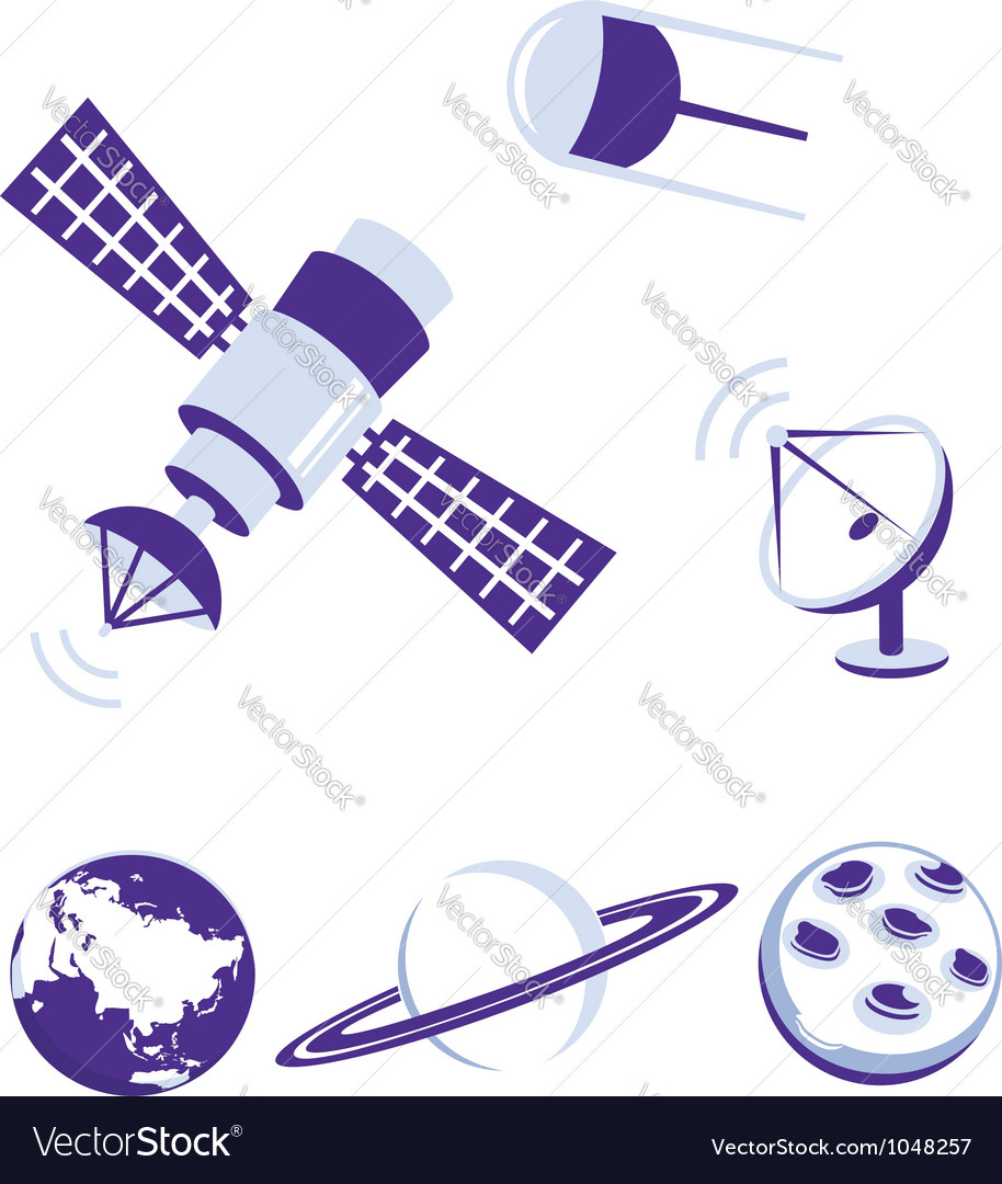 Space and satellite icons blue set vector