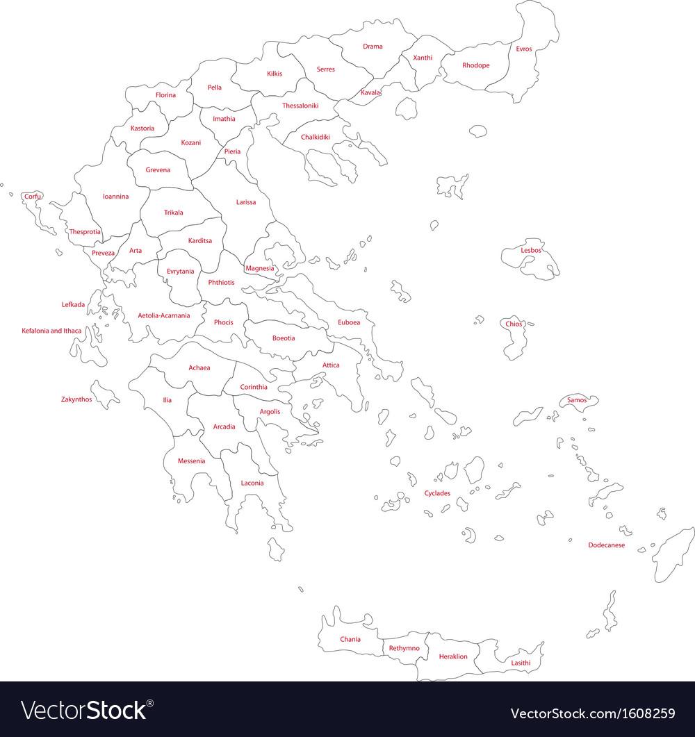 Contour greece map vector