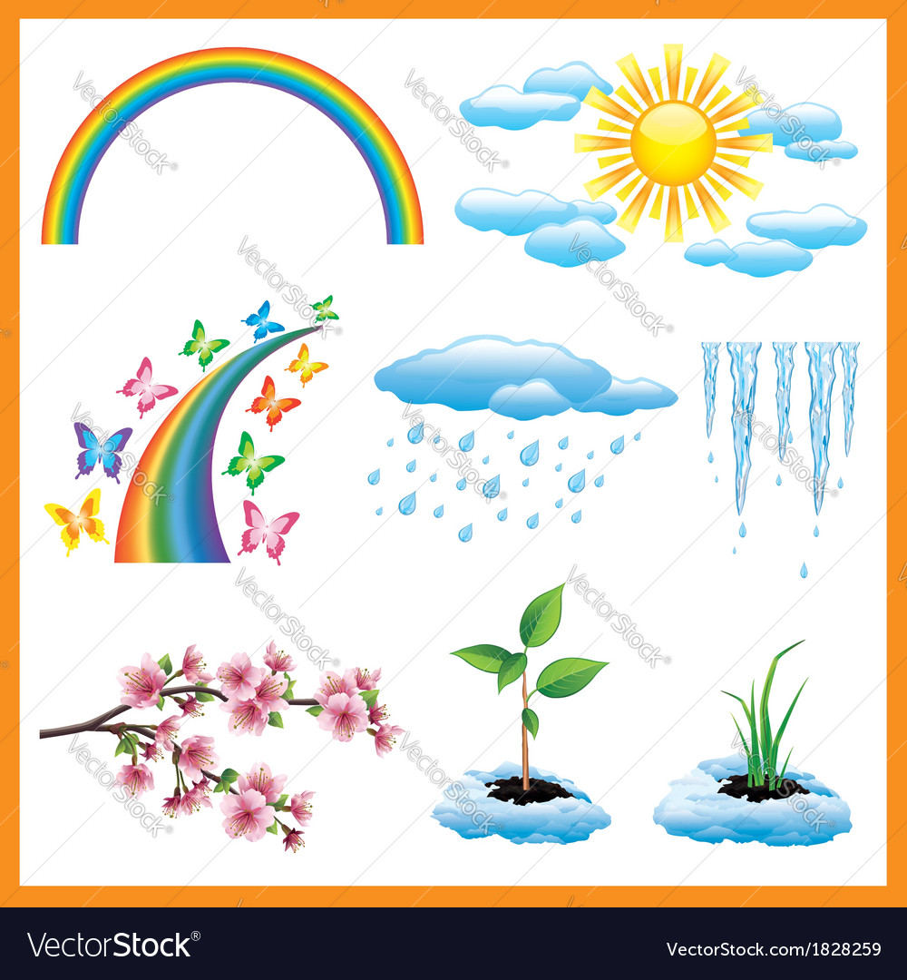 Set of spring nature object icon vector