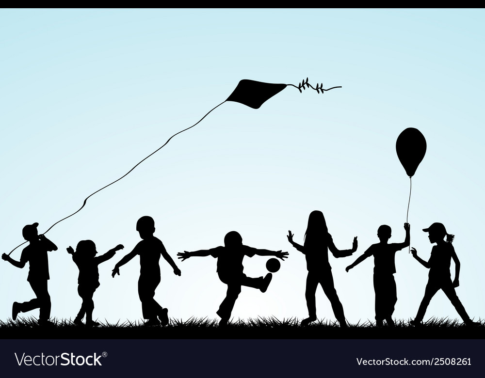 Children silhouettes playing in the park vector