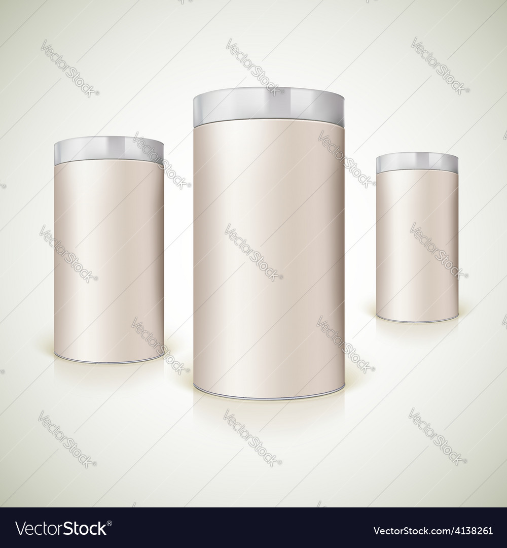 Round packaging for the presentation of product vector