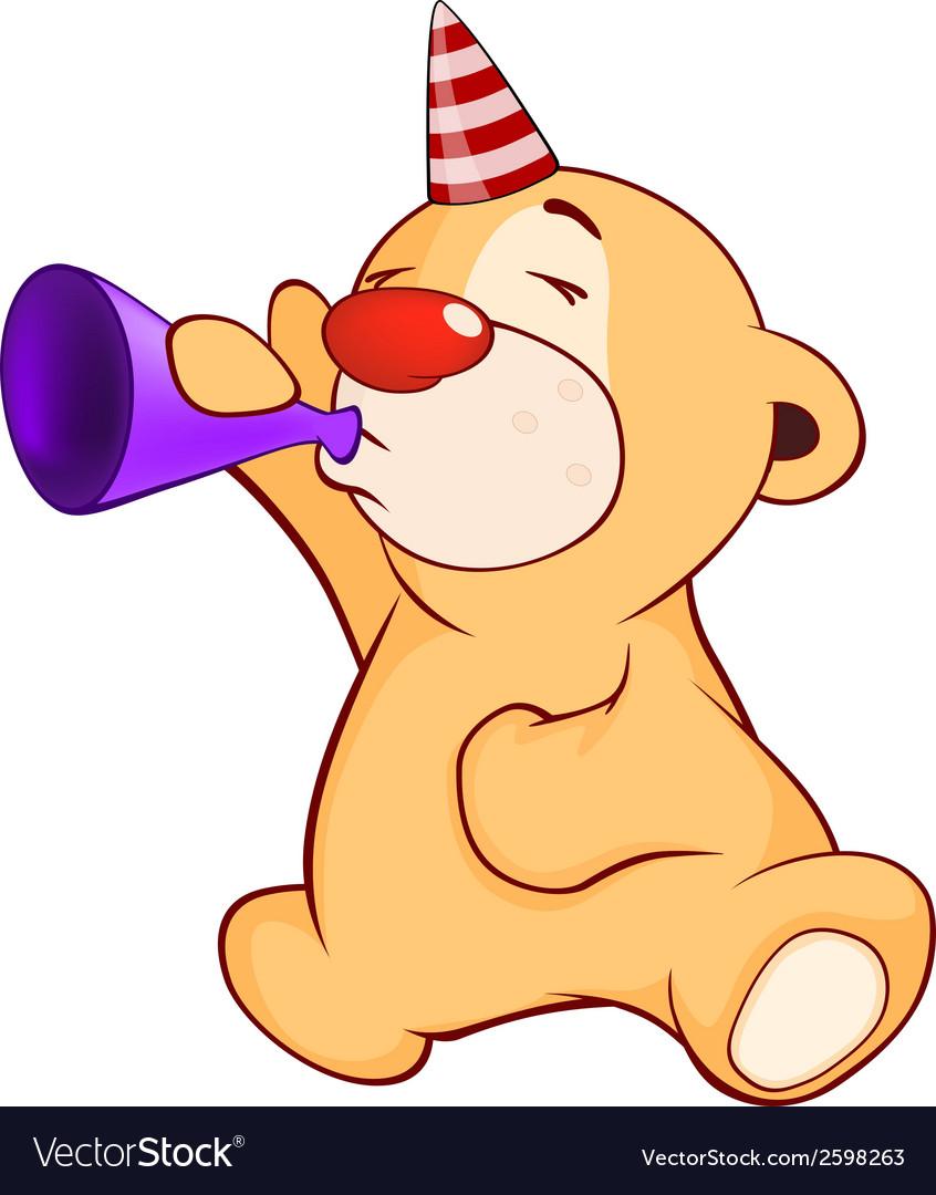 A stuffed toy bear musician cartoon vector