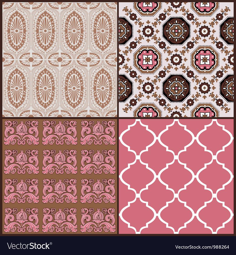 Set of vintage tiles backgrounds vector
