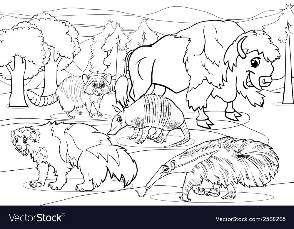 Mammals animals cartoon coloring page vector