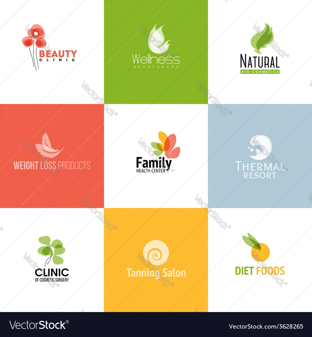 Set of beauty and nature logo templates vector