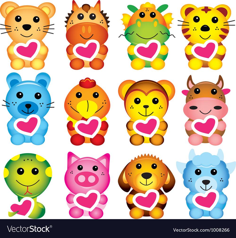 Chinese animal zodiac vector