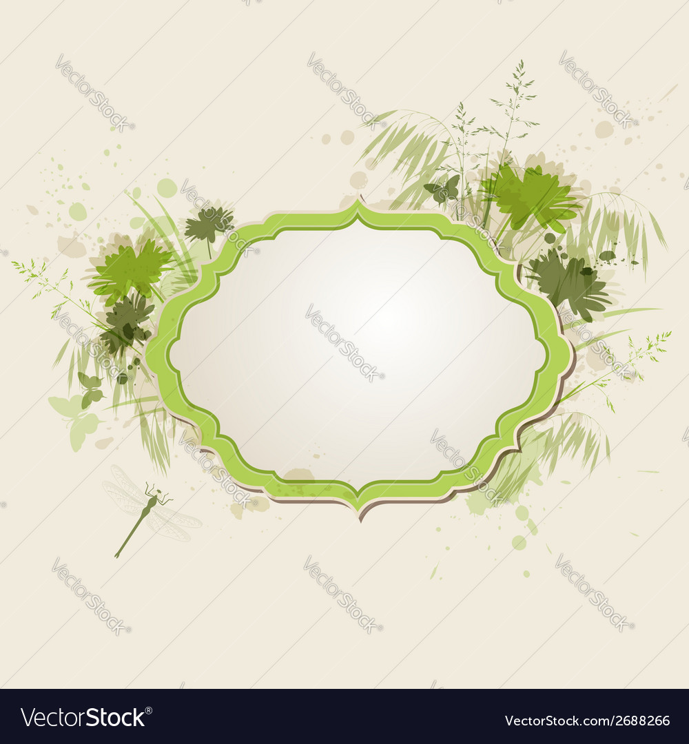 Decorative green floral background vector