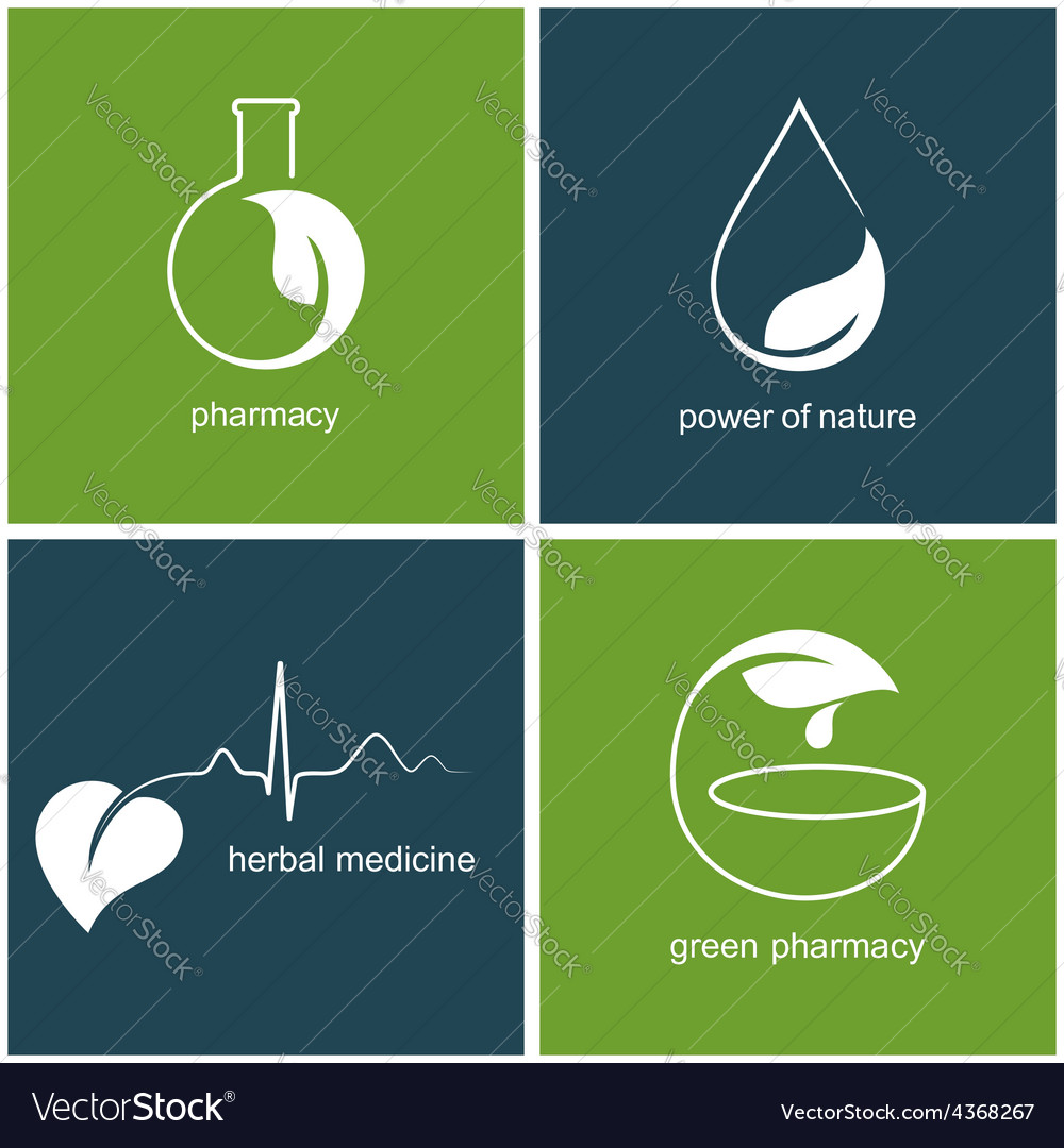 Emblems for green pharmacy and herbal medicine vector