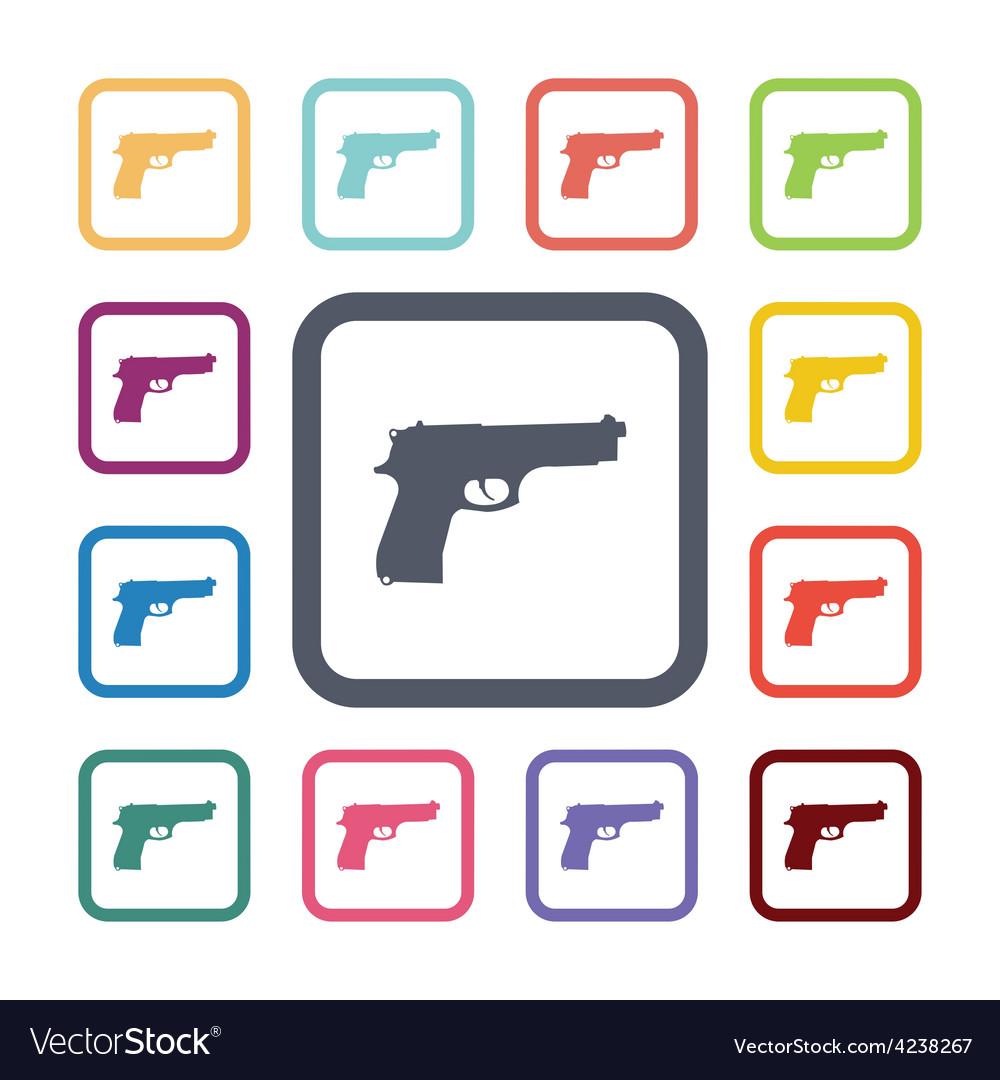 Gun flat icons set vector