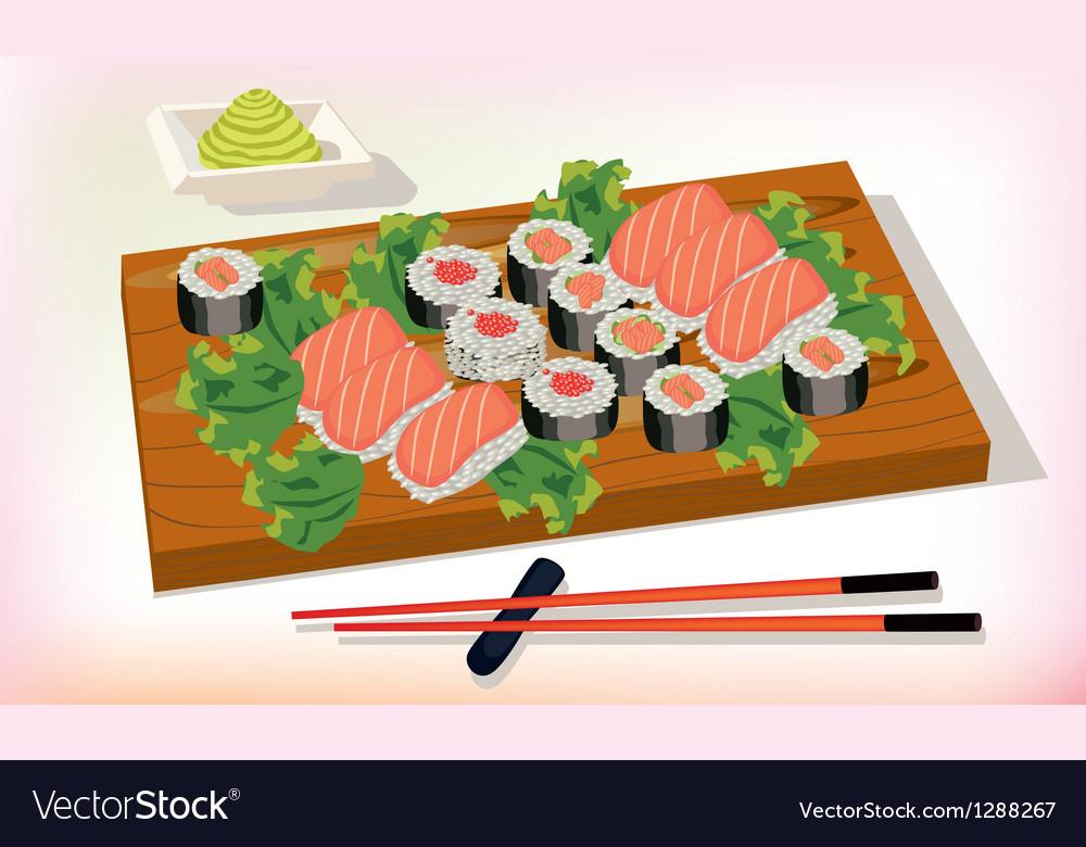 Sushi meal taditsionnaya east china japan korea vector