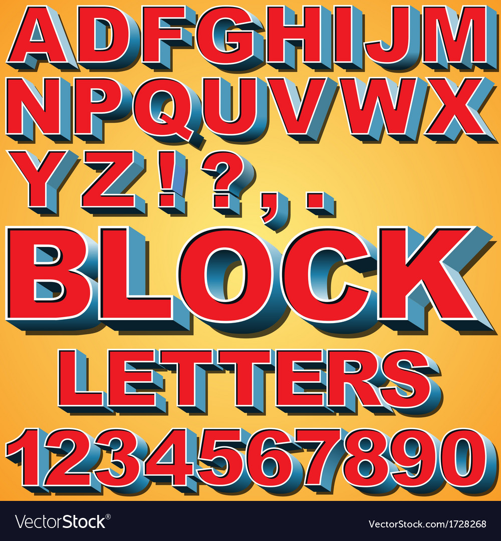 3d block letters vector