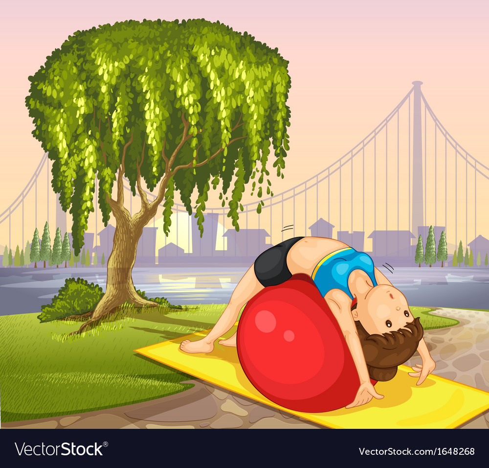 A girl keeping her body fit near the tree vector