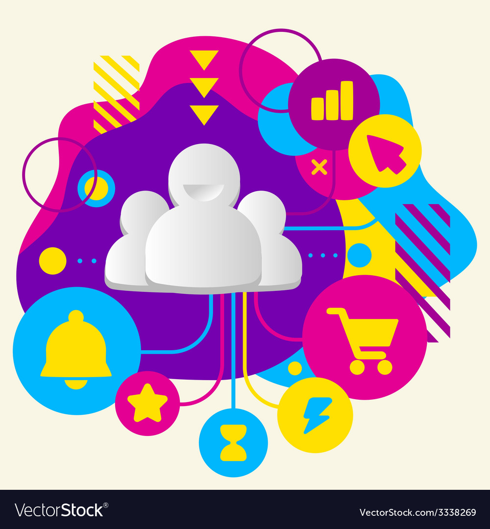 People team on abstract colorful spotted vector