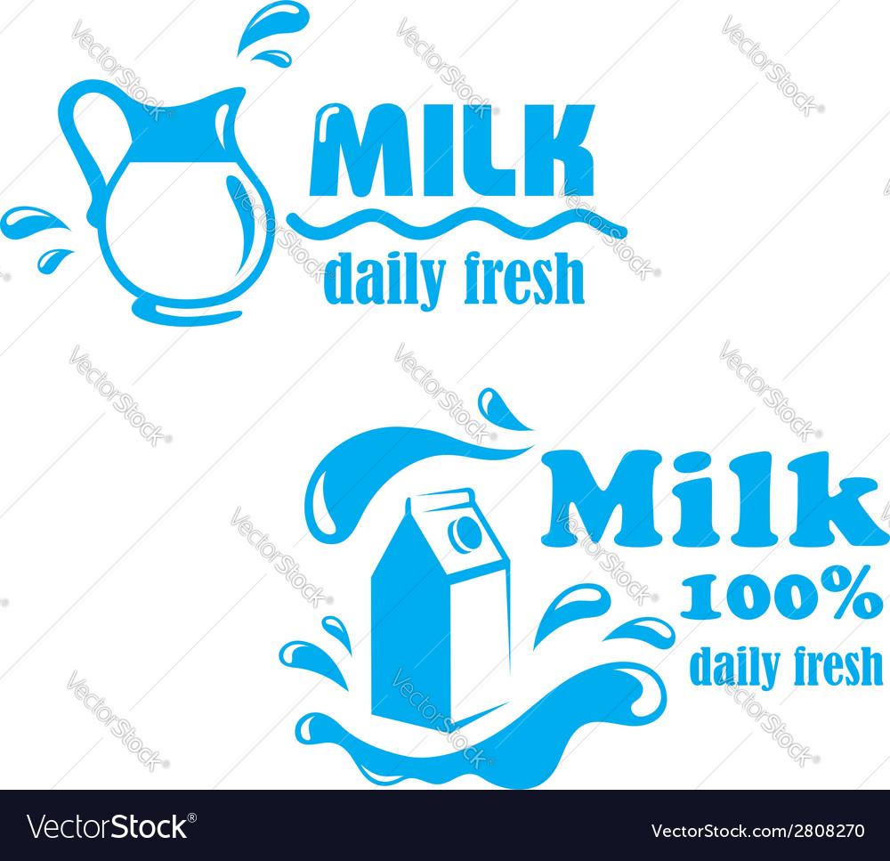 Fresh farming milk emblem vector