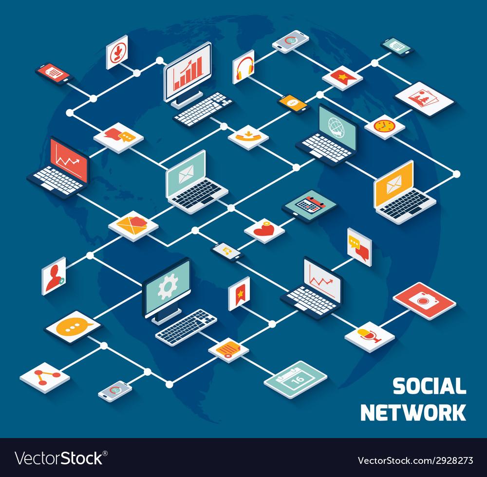 Social network isometric vector