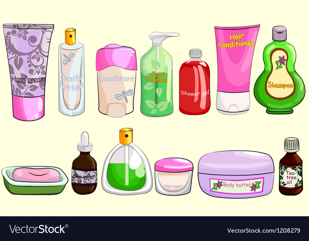 Collection of bath cosmetics vector