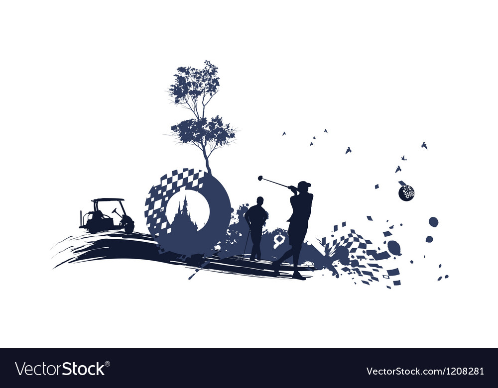Different golf silhouettes vector