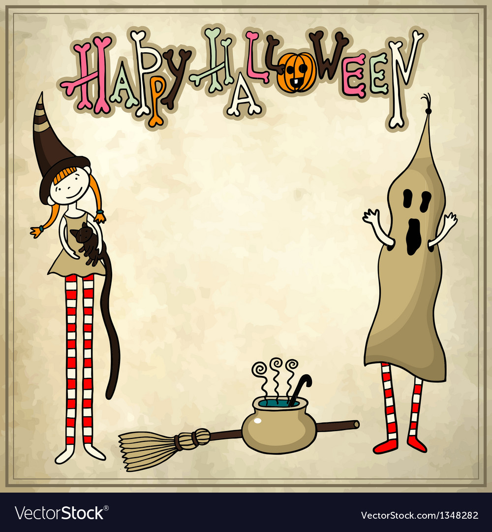 Halloween sketchy drawing pattern with grunge back vector
