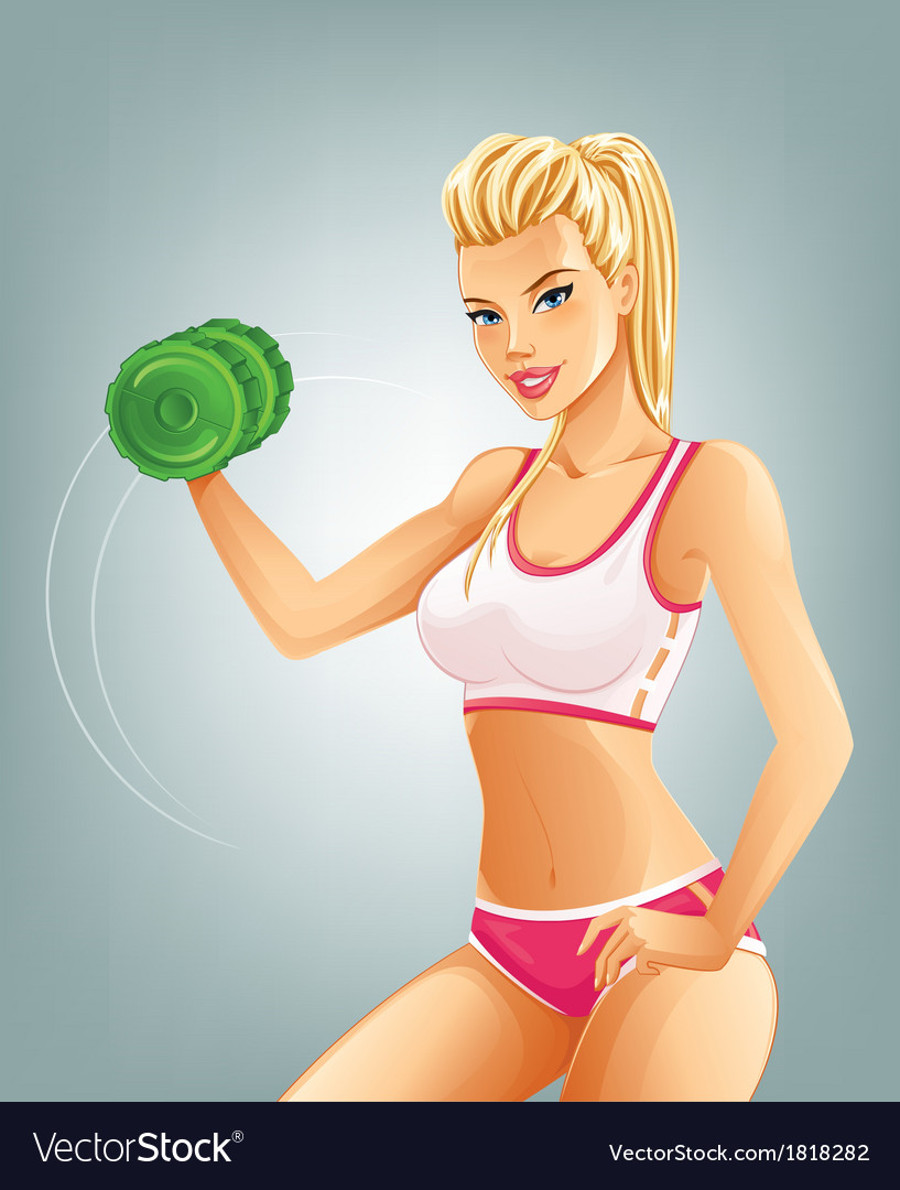 Slim fit woman lifting dumbbell vector
