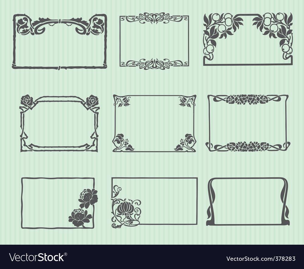 Art nouveau horizontal frame set vector