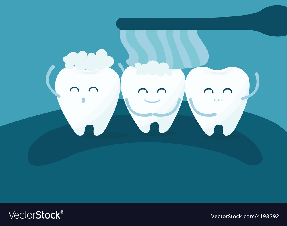 Teeth and toothbrush vector