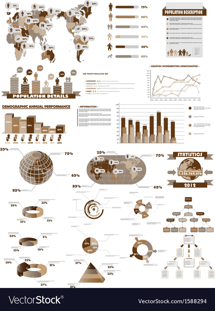 Infographic web collection brown vector
