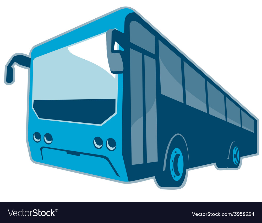 Tourist shuttle bus coach retro vector
