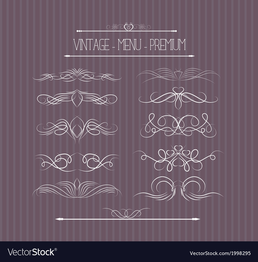 Calligraphic design elements and page decoration 0 vector