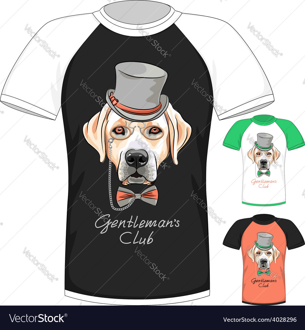 T-shirt with labrador retriever gentleman dog vector
