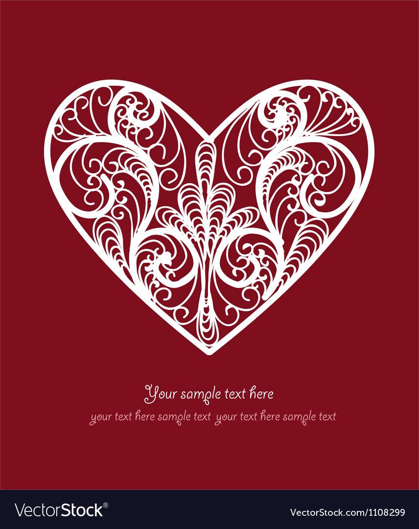 Ornamental heart postcard vector
