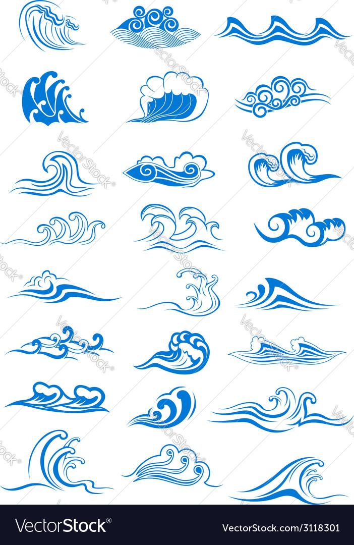 Blue ocean waves set vector