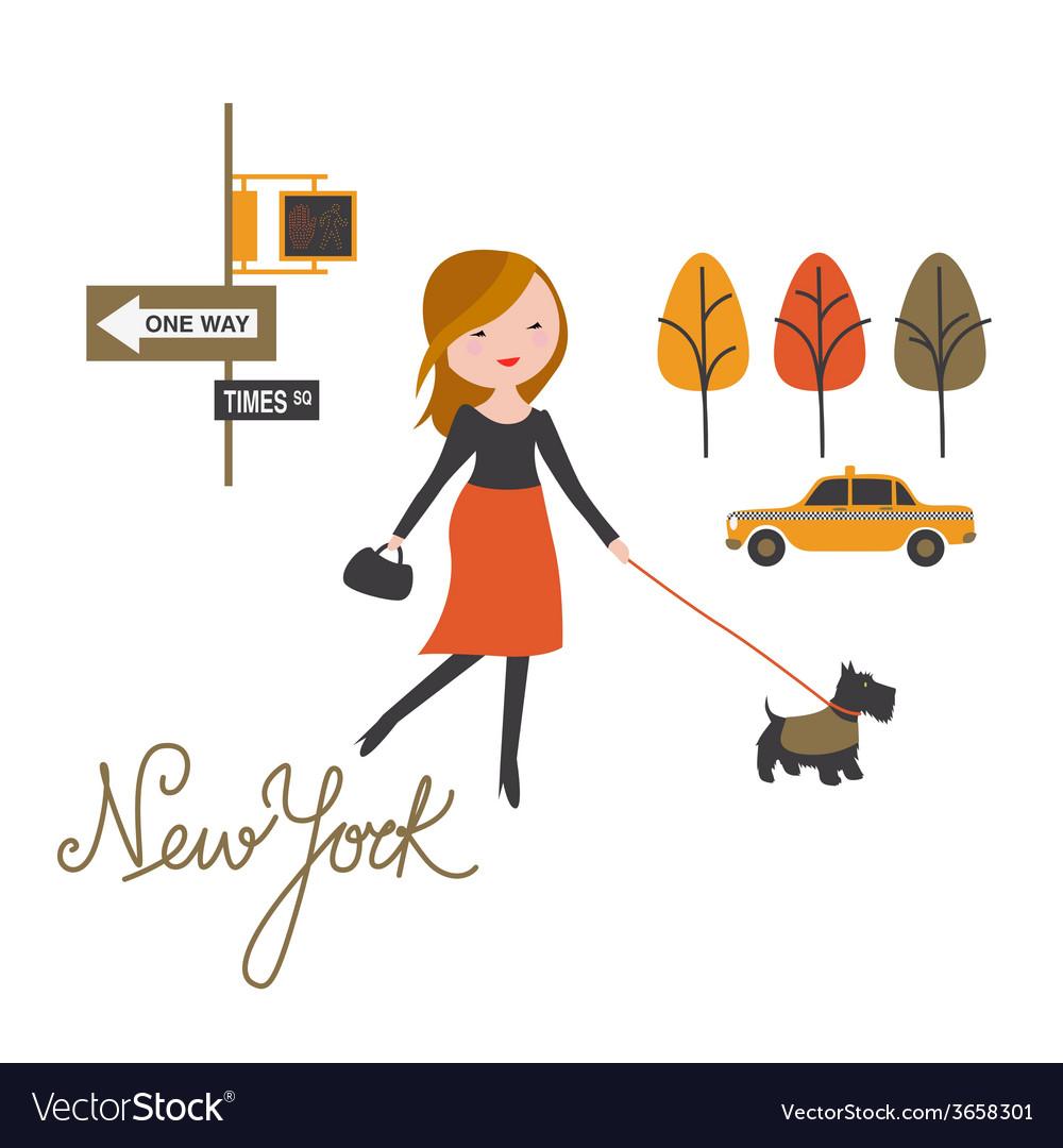 Walk around nyc vector