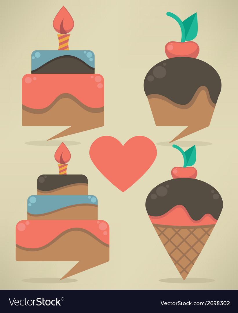 Cakes look like a tags vector
