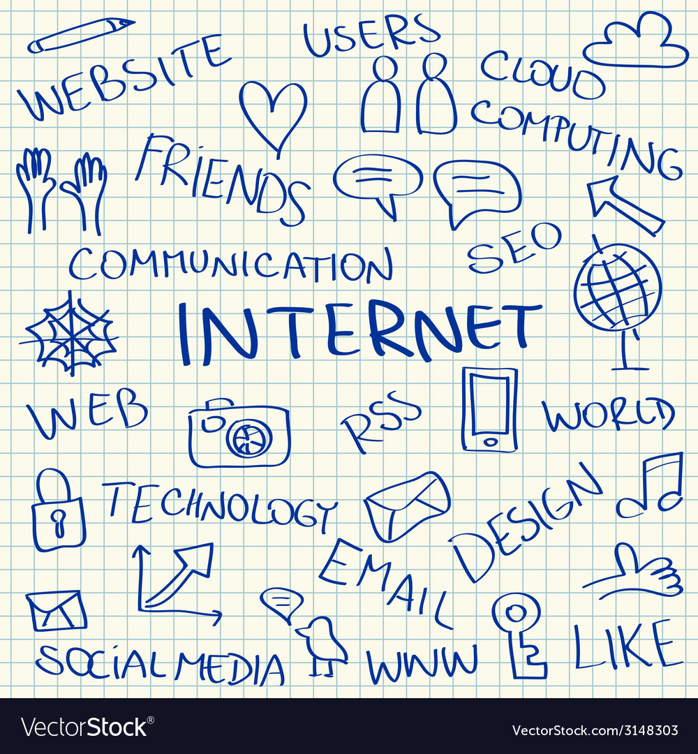 Internet doodles vector